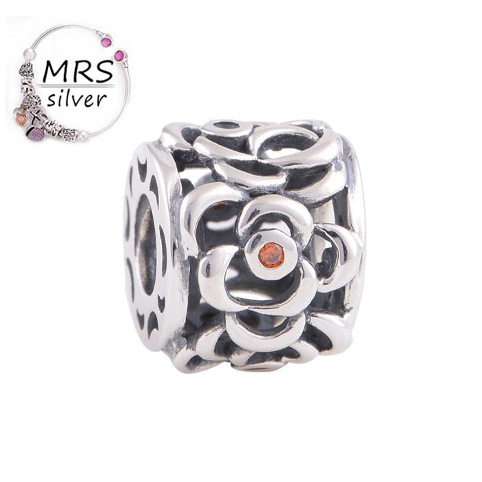 Sterling Silver Hollow Charm Tibetan Silver Jewelry With Peach Crystal Fit European Bracelet Gw Fine Jewelry