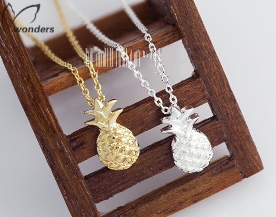 Summer Fruit Jewelry Silver Gold Pineapple Pendant Necklace For Women Men Bridesmaid Gift Free Shipping<br><br>Aliexpress
