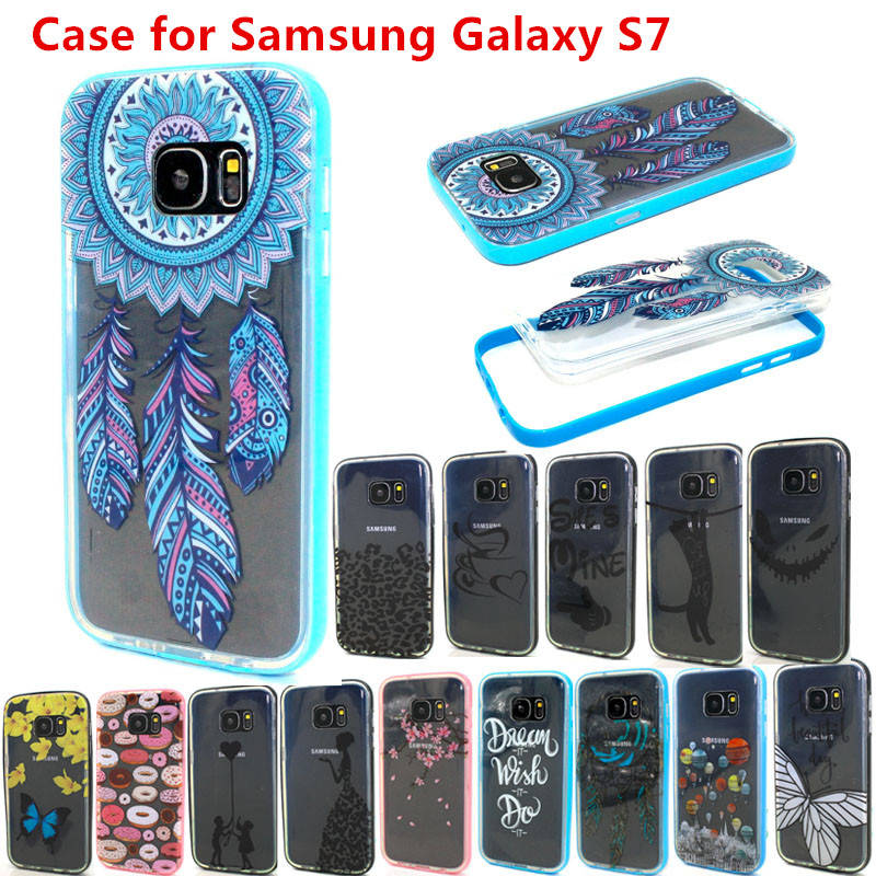 S7 Nice Design Transparent Soft TPU+Plastic Bumper Cell Phone Case Cover For Samsung Galaxy S7 Back Protective Covers(China (Mainland))