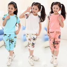 5 -12 years 2016 summer children's clothing set girls flowers short  floral t-shirt + leisure pants kids suits(China (Mainland))