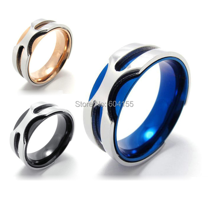 2014 Hot Selling Fashion Titanium Stainless steel Classic Retro Biker Women's Men's Blue Black Orange Ring US7-13 Free Shipping(China (Mainland))