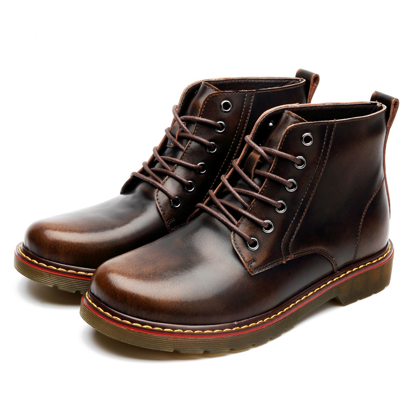 Male Men's Flats Shoes Man Oxford Lace-Up Round Casual Superstar Brown Rubber Soles Waterproof Patent Genuine Leather *JFN-3019