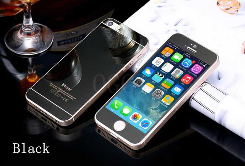 wholesale Front+Back Tempered Glass For iPhone 5/5S/SE Full Cover Screen Protector Mirror Effect Colorful Protective Film Black(China (Mainland))