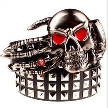Buy Full big rivet belt skull ghost hand god's metal buckle belts devil eyes bone ghost claw belt punk rock style show girdle men for $12.31 in AliExpress store