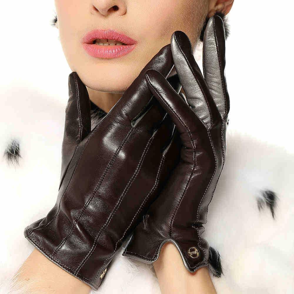 2016 New Sale Wrist Women Gloves Nappa Sheepskin Glove Fashion Colors Real Genuine Leather Goatskin Winter For Driving Keep Warm(China (Mainland))