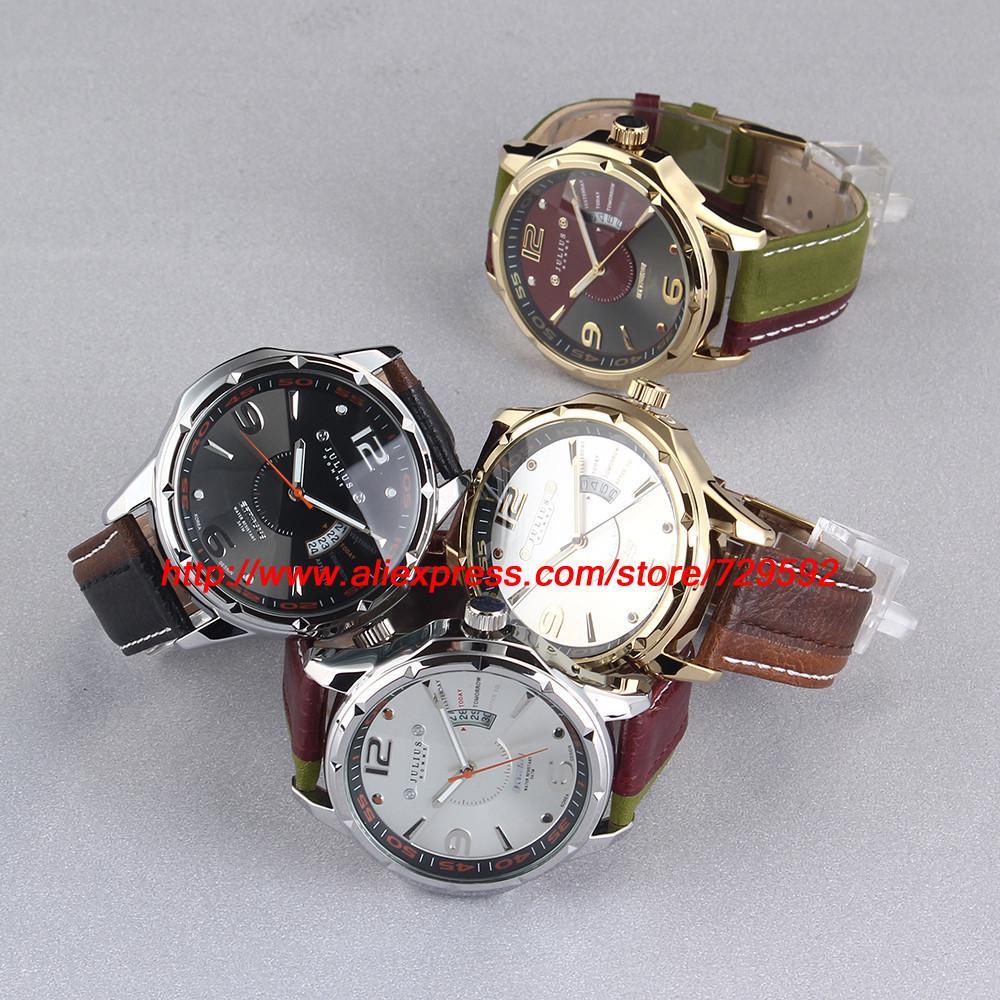 Юлий марка Relogio календарь джентльмен кожаный ремешок человек мода кварцевые свободного покроя платье корея дамы мужской наручные часы наручные часы