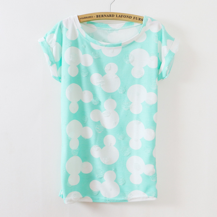 Fashion cartoon design two colors printing T-shirt 2015 new women cotton T shirt short sleeve Tshirt tee tops 805 - bunny xie fashion items store