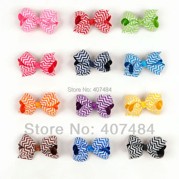 Boutique wholesale Chevron Hair Bows lovely Print Ribbon Bows With Clips Fashion Girl's Hair Accessory,20 pcs/lot