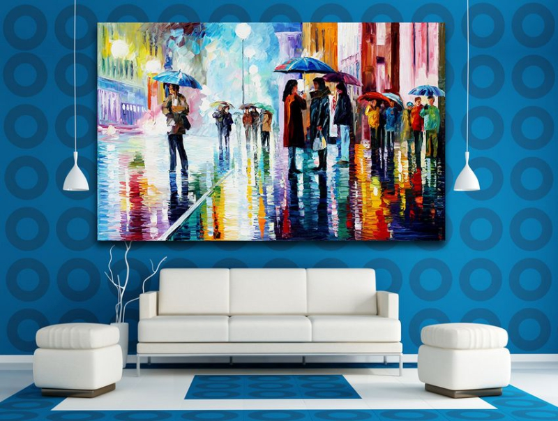 100% Hand-painted Palette Knife Painting Rainy Day Bus Stop Life Scene Painting Canvas Wall Painting Home Decor No Frame(Hong Kong)