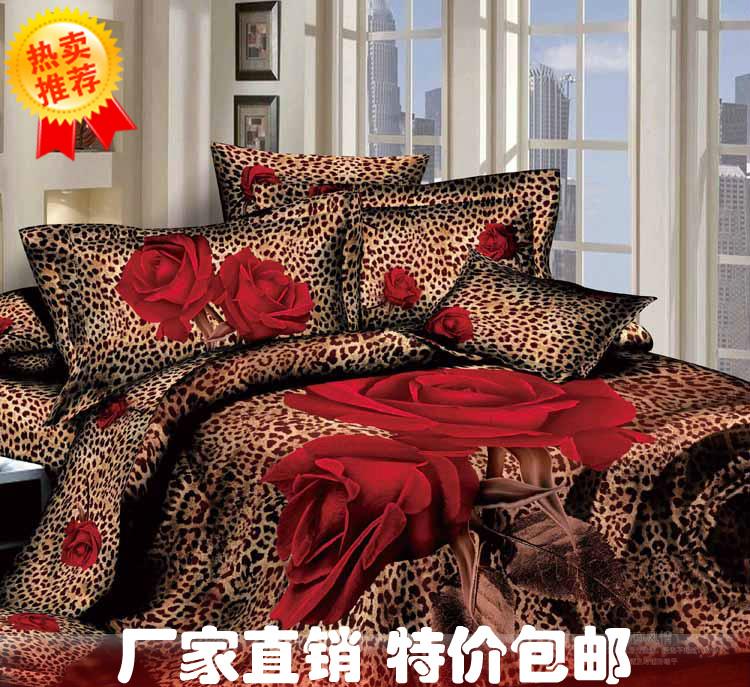 Aliexpress Com Buy 3d Red Rose Leopard Print Bedding