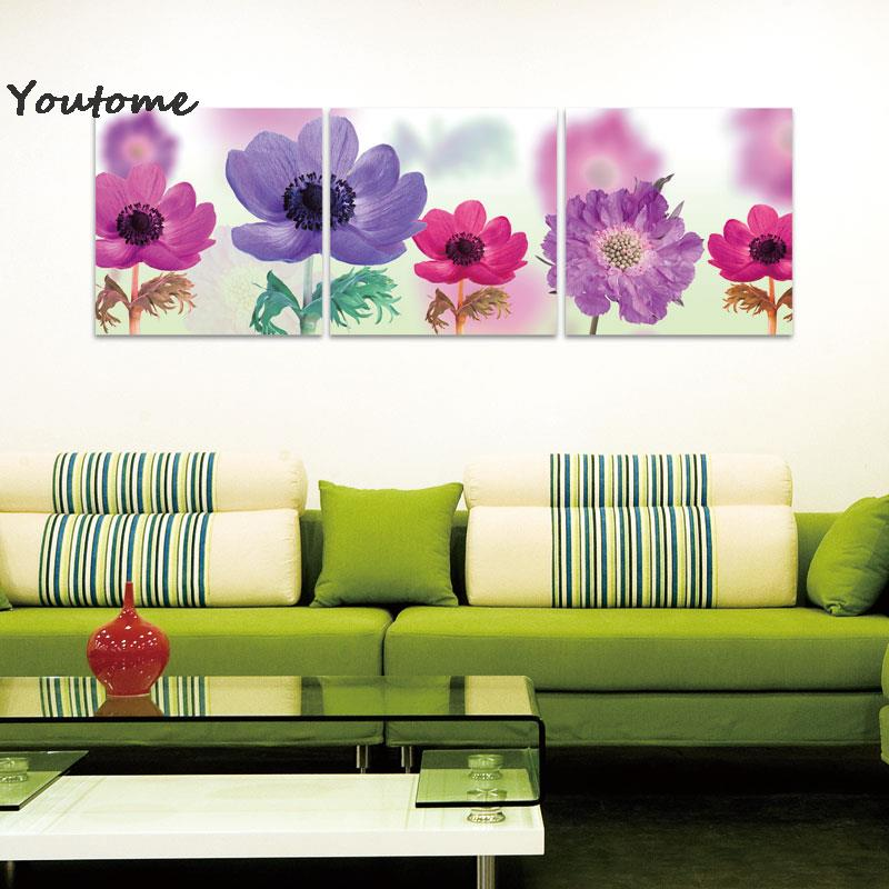 3 Piece Wall Art abstract Modern Wall Painting purple pink flower beautiful wall painting for living room,Flower Purple picture(China (Mainland))
