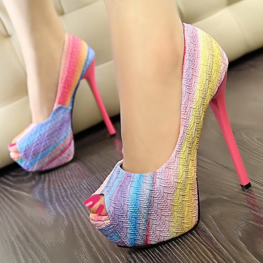 14CM High-Heeled Ultra Thin Platform Shoes Rainbow Candy Round Peep Toe Sweet High Heels Women Wedding Wedge Pumps - IDoDo Jewelry store