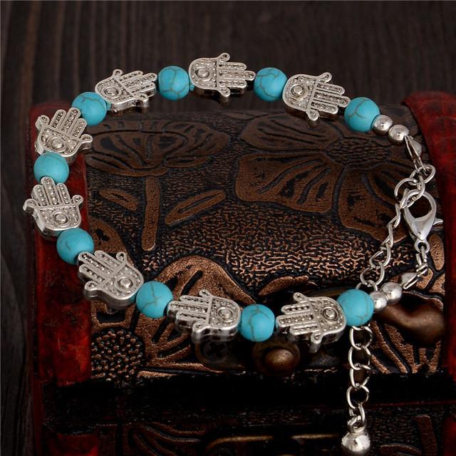 1 пк прекрасный Palm форма дизайн привлекательным леди женщина бирюза браслет
