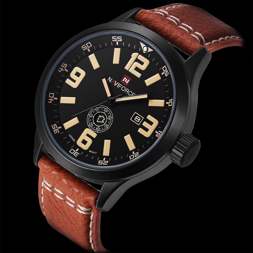 Hot Fashion Watches Men Quartz Hour Clock Date and Day Clock Man Leather Military Army Sports Waterproof Wristwatch Male Relogio(China (Mainland))