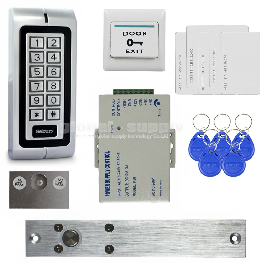 DIY Complete 125KHz RFID Reader Metal Keypad Password Access Control System Kit + Electric Bolt Lock + Power Supply W1(China (Mainland))