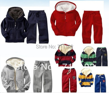 New Free shipping baby winter sets infant suits kids clothing thick hood fur jackets pants warm trousers bear striped lovely