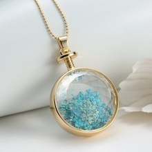 5pcs natural plant dried flowers necklaces for women jewelry round gold chain locket blue dry flower pendant necklace 2015(China (Mainland))