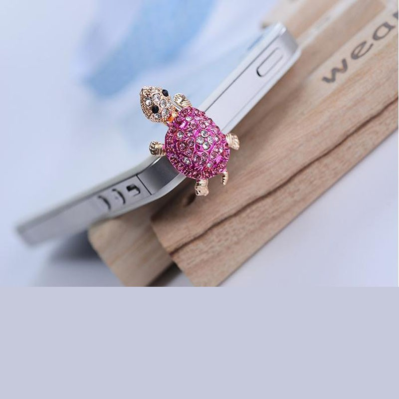 Universal Crystal Lovely Phone Dust Plug Bling Turtle Earphone 3.5mm Jack Plug For iPhone 4/4s/5/5s/6/6 plus/6s/6s plus Samsung(China (Mainland))