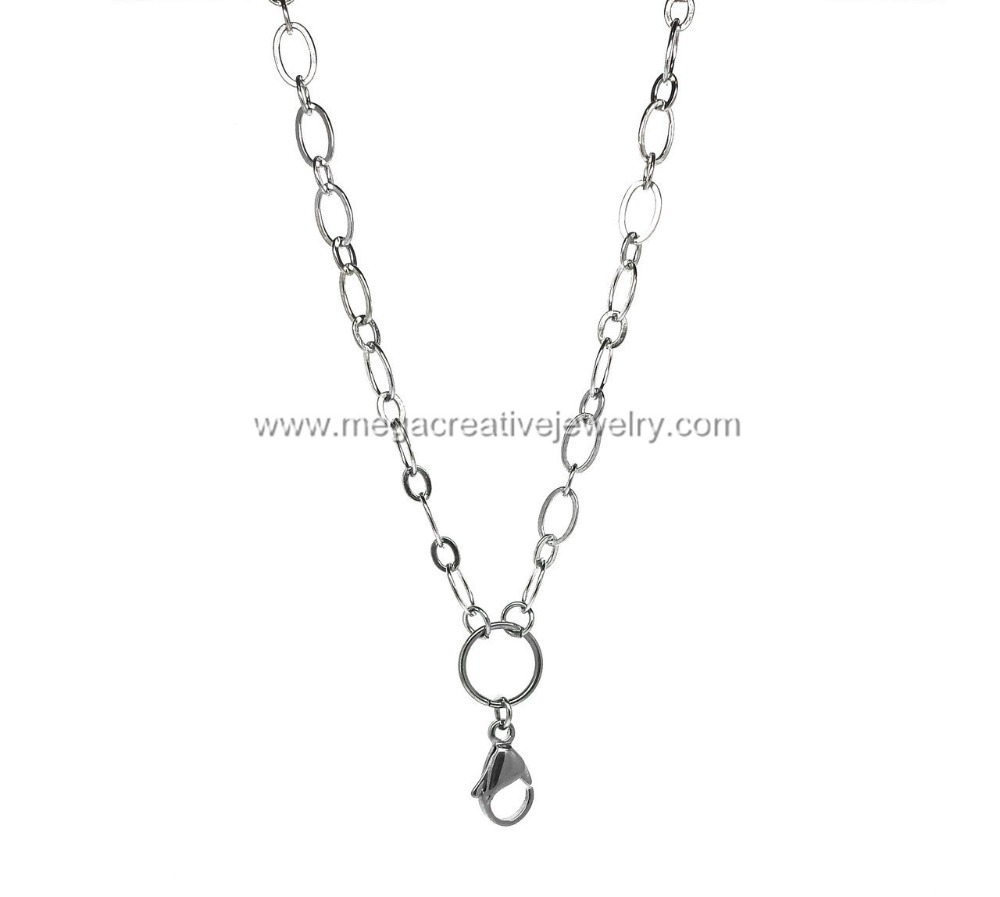 316L Stainless Steel alternating oval locket chains necklace 32'' - MCJ store