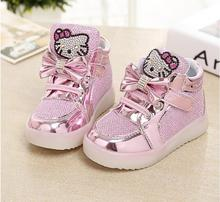 Girls shoes baby Fashion Hook Loop led shoes kids light up glowing sneakers little Girls princess  children shoes with light(China (Mainland))