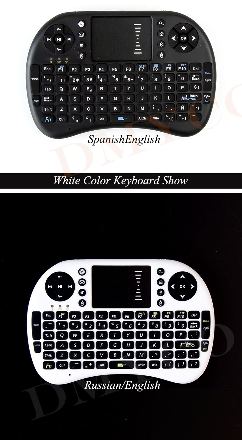 Portable I8 Mini Wireless Gaming Keyboard Russian English Hebrew 2.4G Touched Fly Mouse For xBox360 Smart TV Laptop Tablet PC