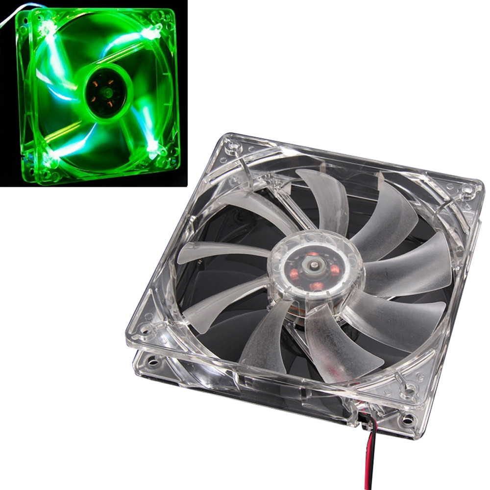 Malloom 2016 Green Quad 4-LED Light Neon Clear 120mm PC Computer Case Cooling Fan Mod Top Sale Cheap Free shipping(China (Mainland))