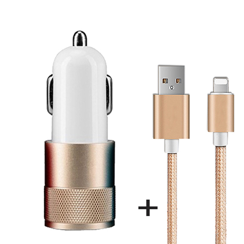 Sales Promotion Bullet Dual USB Car Charger Adaptor with Charging Cable 2 Port car-charger 5V2.1A 1A 2 usb laptop car charger(China (Mainland))