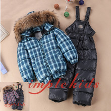High quality brand children's winter clothing set boys girls down jacket warm light cotton trousers sale