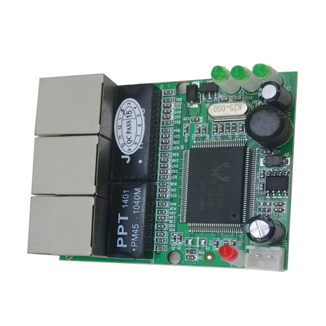 Mini 3 port ethernet switch 10 100mbps rj45 network switch hub pcb module board for system - Mini switch ethernet 3 ports ...
