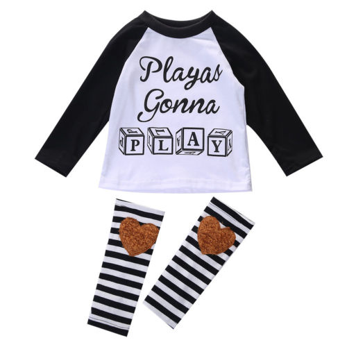 Newborn-Baby-Boys-Girls-Toddler-Kids-T-shirt-Tops-Leggings-Outfit-Clothes-Sets