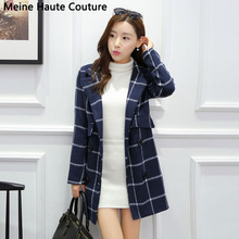 2016 Autumn coat double-breasted trench coat and long sections trench coat for women tartan coat women Women Clothing casacos