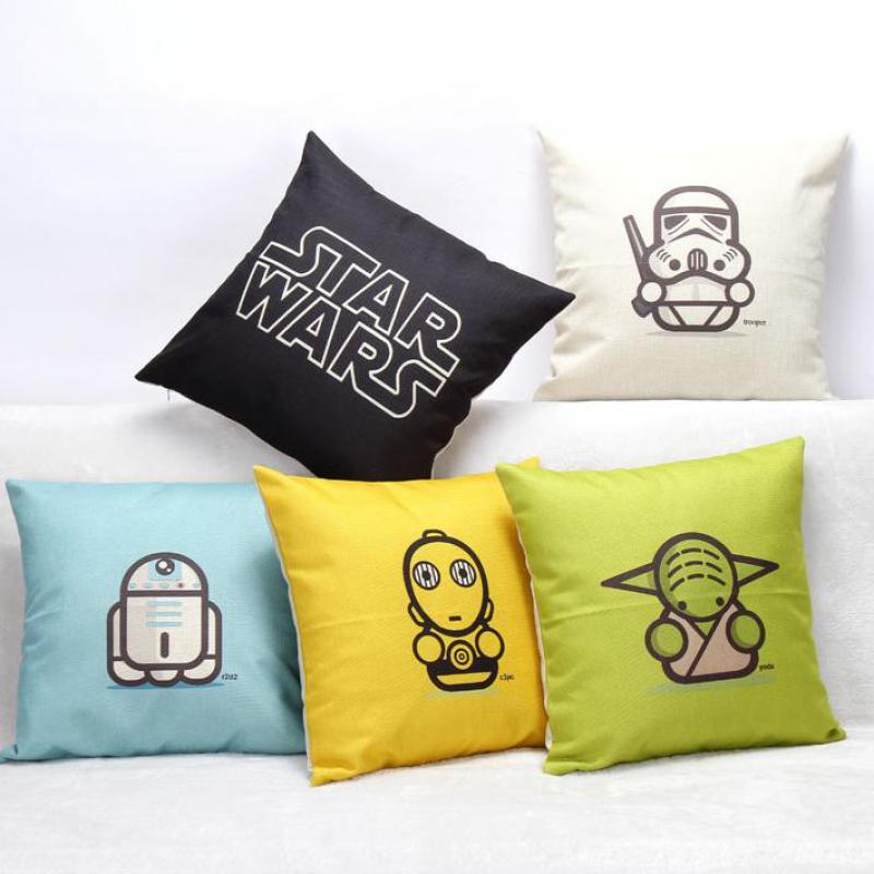 Hot Selling Cute Cartoon Animation Star Wars Linen Cotton Kids Throw Pillow Home Sofa Car Seat