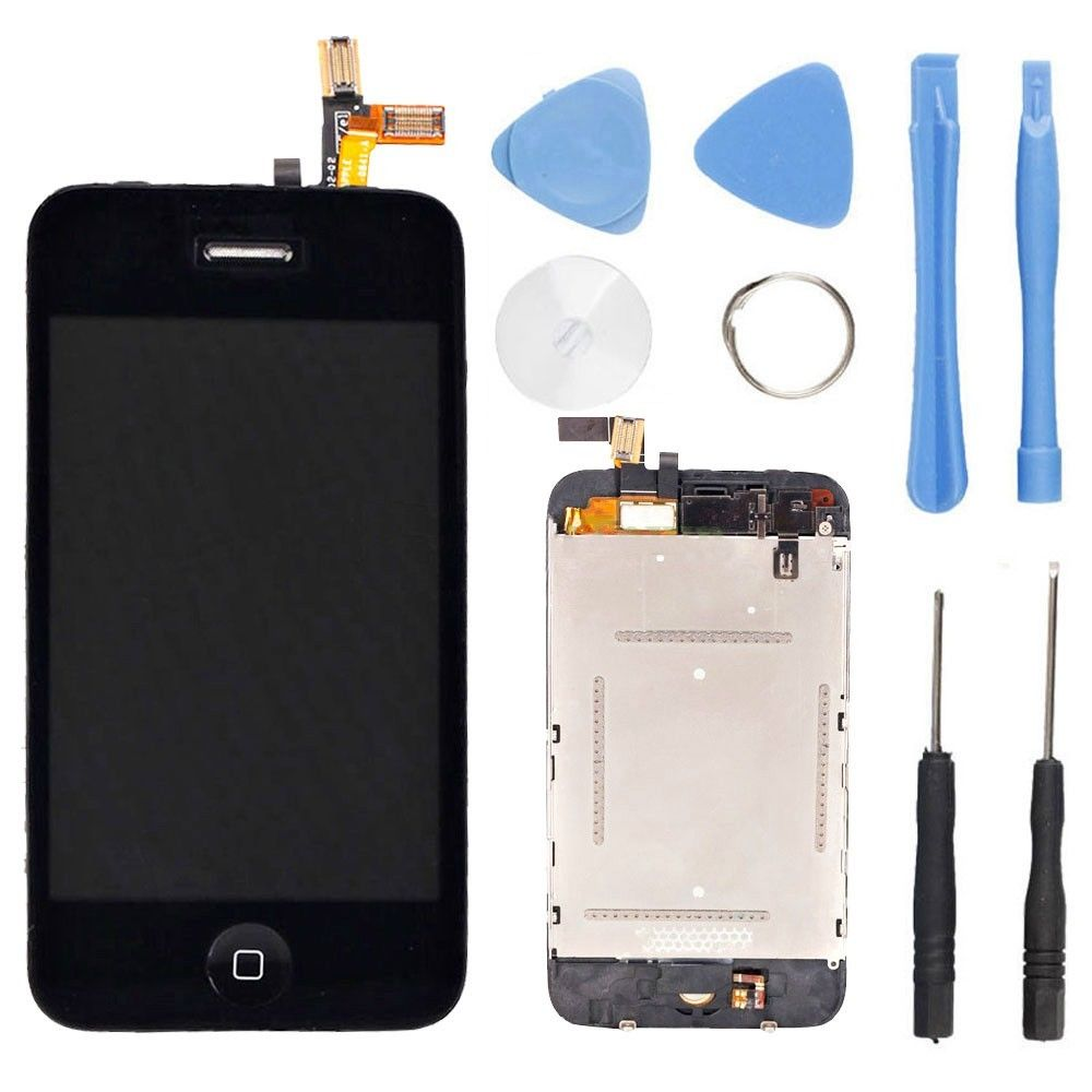 LCD Screen Display + Digitizer Touch Screen lens+Home Button For iPhone 3G LCD Replacement Black with Tools,Free shipping(China (Mainland))