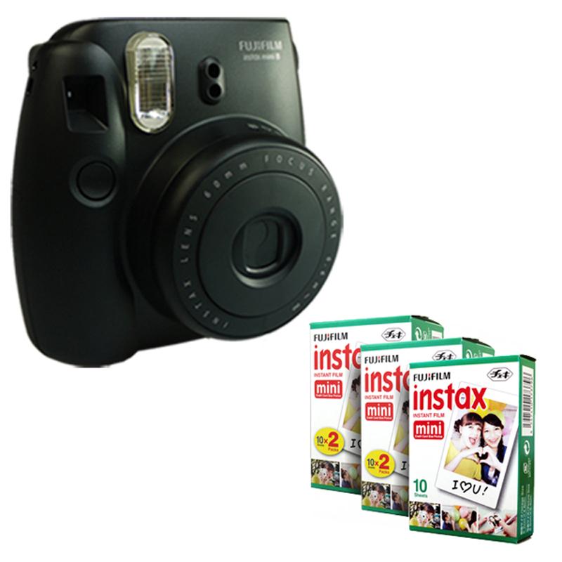 Fujifilm Instax Mini 8 Instant Camera - Black + Fuji White Edge 50 Film