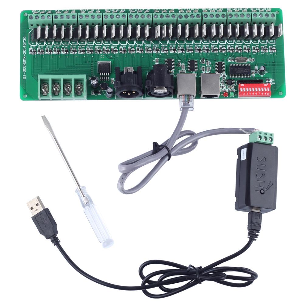 30 channel Easy DMX rgb LED strip controller dmx512 decoder controlador dmx dimmer 12v console+USB DMX controller(China (Mainland))
