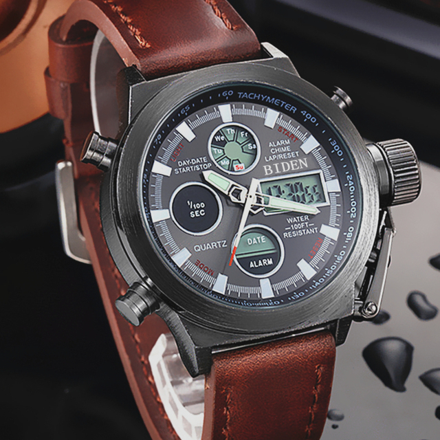 Military Sport Watch Digital LCD Quartz Leather