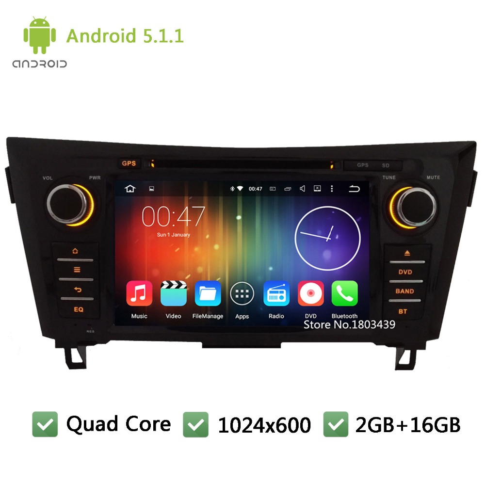 Quad Core DAB+ Android 5.1.1 2Din 1024*600 Car DVD Player Radio PC Audio Stereo Screen GPS For Nissan X-Trail Qashqai 2012-2015(China (Mainland))