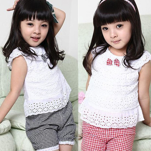 Kids Clothing Lace Children Girl Clothes Set T Shirt And Lattice shorts Pants 2 Colors Infant Garment free shipping(China (Mainland))