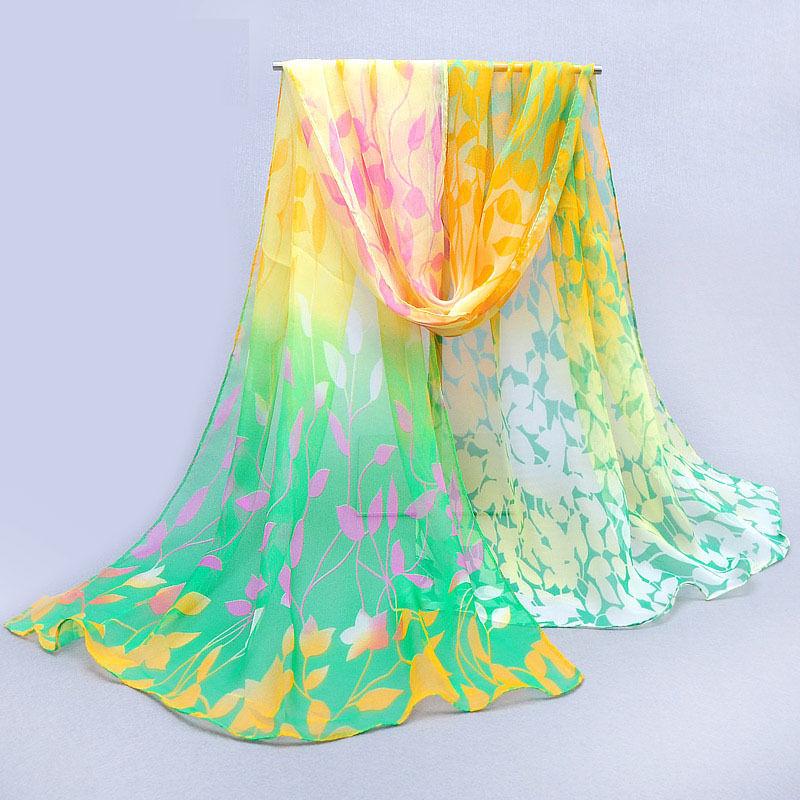 Fashion Women Lady Chiffon Long Scarf Wrap Ladies Shawl Girls Large Silk Scarves Yellow Green Color(China (Mainland))