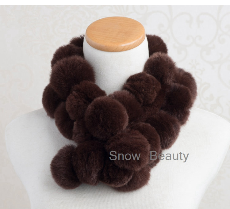 natural knitted rabbit fur scarf with pompoms genuine fur stole for women skin shawls lady real fur wraps winter warm neck wear
