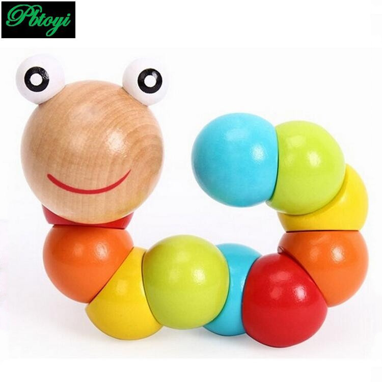 Baby toys 2016 New Variety Twist-colored Insects Wooden Toys Educational Toys kid caterpillar toys PG0548(China (Mainland))