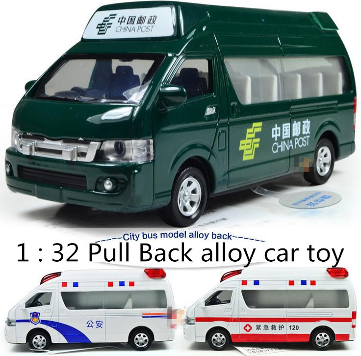 Free shipping ! 1 : 32 Pull Back sound and lights alloy Children car toy, Ambulance police car Postal car Models(China (Mainland))