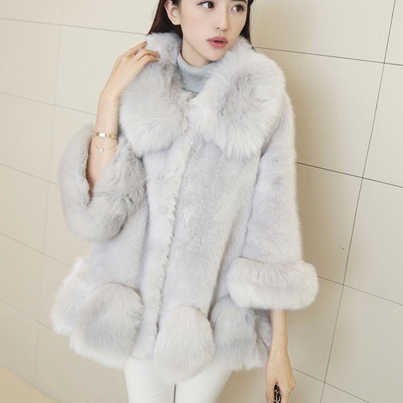 Hot 2015 Winter Womens Fashion Elegant Loose Faux Fur Coat Fur Collar Three Quarter Cloak Jacket Outwear Female WY086Одежда и ак�е��уары<br><br><br>Aliexpress