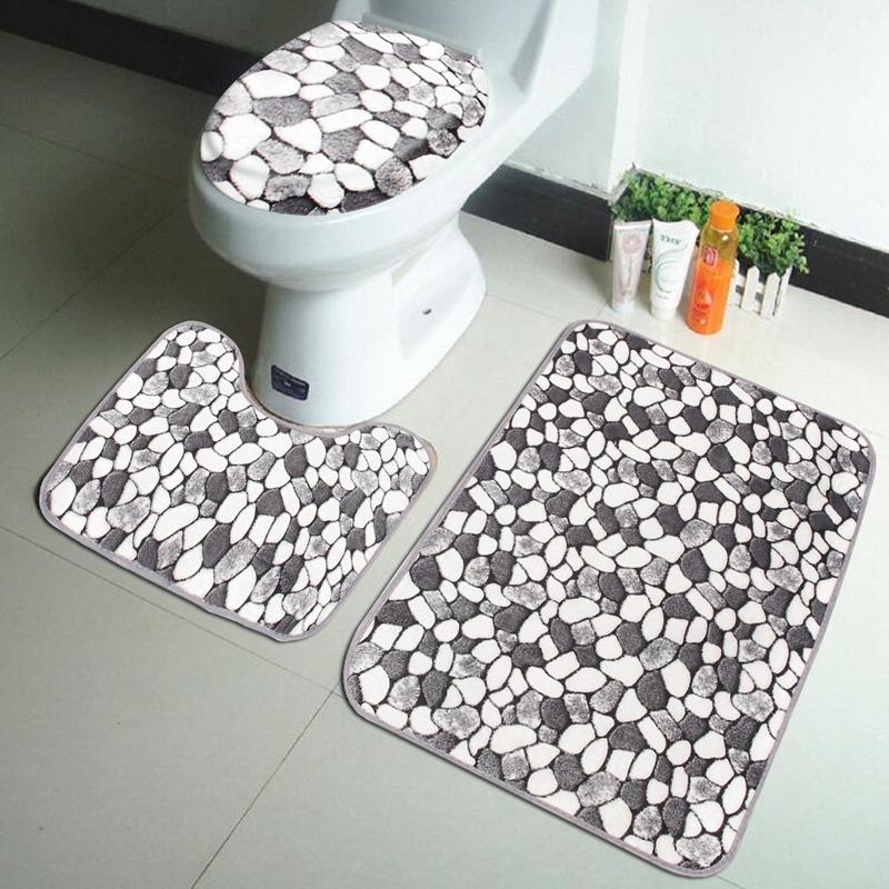 Wholesale- 3PCS Coral Velvet Pebble Pattern Bathroom Mats Rugs Set Non-slip Washable Floor Carpet Bath Mat Pedestal Toilet Rug Kits