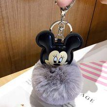 2019 Novo Mouse Porte Mulheres Fluffy clef Chaveiro Pompom Bola Saco De Pele De Coelho Chaveiro llavero Chaveiro sleutelhanger Pompom(China)