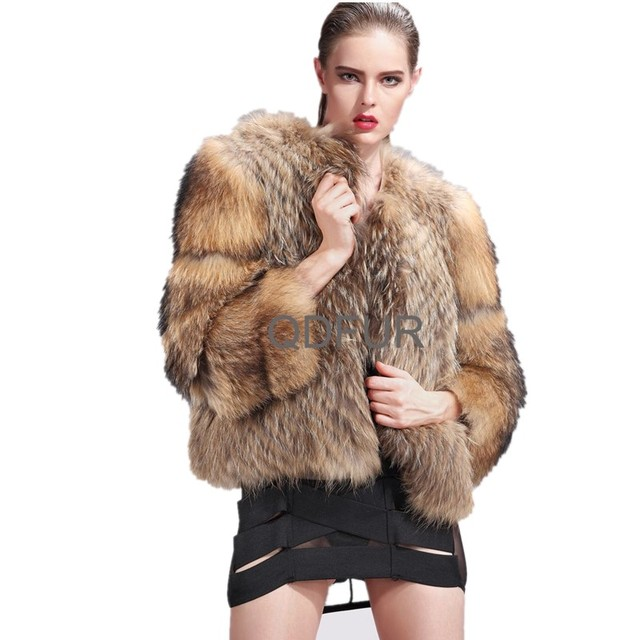 Lady Genuine Natural Raccoon Fur Coat Jacket Winter Women Fur Outerwear Coats Three Quarter Sleeve Garment QD27577A