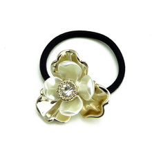 2 pcs Wholesale Gold Plated Alloy Flowers Shell Floral Hair Holder Black Rope Shinning Zircon Rhinestone