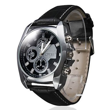 Hot Business Fashion Watch Men Sports Leather Strap Watches Casual Hours Three Eyes Clock Quartz mens