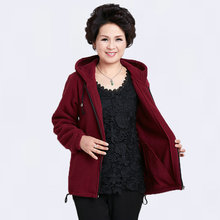 Spring Autumn Casual Ladies Hooded Warm Fleece Jackets Dark Red Blue Purple Gray Hood Coat Middle Aged Women Plus Size Overcoats