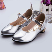 2016 new spring autumn girls heeled shoes Princess leather shoes wing kids wedding shoes children party dance shoes gold baby(China (Mainland))
